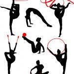 Rhythmic gymnastic silhouette collection - vector...