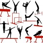 Постер, плакат: Gymnastics silhouettes