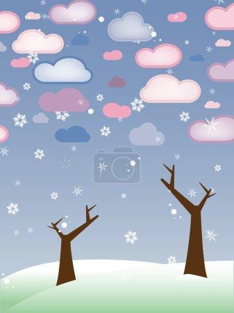 Retro Snowy Landscape with Leafless Trees - Season Winter