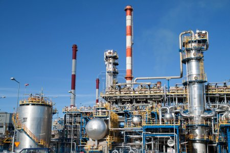 Photo for Oil refinery closeup - industrial shot - Royalty Free Image