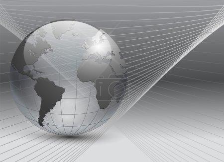 Illustration pour Fond d'entreprise abstrait gris avec globe terrestre transparent, vecteur . - image libre de droit