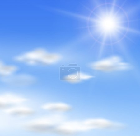Illustration for Vector clouds and sun. - Royalty Free Image