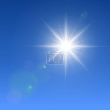 Illustration pour Soleil vectoriel réaliste avec fusées éclairantes. - image libre de droit