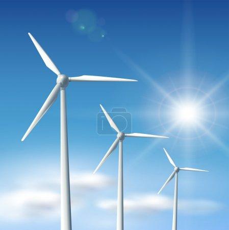 Illustration pour Eoliennes sur ciel bleu avec soleil, illustration vecto . - image libre de droit