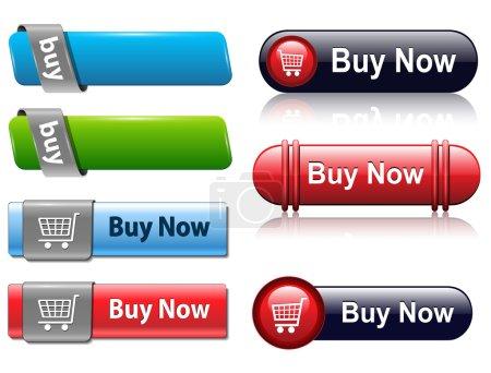 Illustration pour Ensemble de boutons d'achat pour site web, vecteur . - image libre de droit