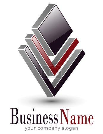 Illustration for Logo 3d design for business, vector illustration. - Royalty Free Image