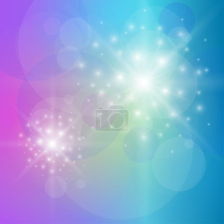 Illustration for Abstract background blue glittering star of light, vector. - Royalty Free Image
