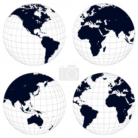 Illustration for Earth globes, black and white detailed vector illustration. - Royalty Free Image