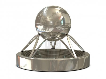 Silver basketball trophy with ball and stadium