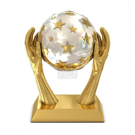 Golden award trophy with stars and hands