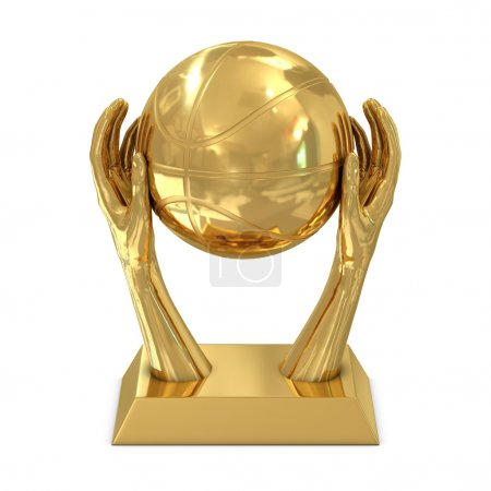 Golden award trophy with stars, hands and basket ball