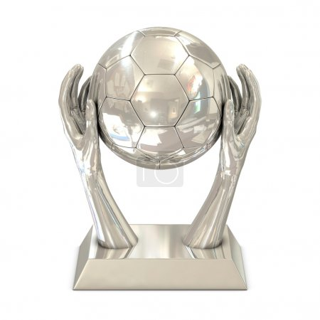 Silver award trophy with stars, hands and soccer ball