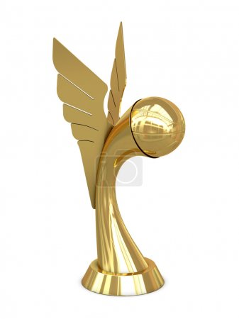 Golden award trophy with wings and basket ball