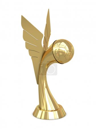 Golden award trophy with wings and soccer ball