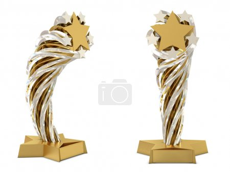 Golden - silver trophy with stars and place for text or sticker