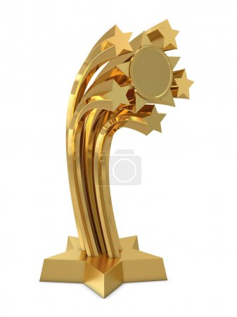 Golden trophy with stars and place for text or sticker