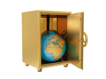 Golden safe deposit and Earth