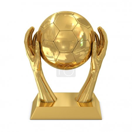 Golden award trophy with hands and soccer ball