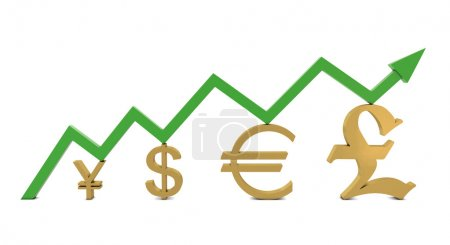 Golden currencies symbols and green growth line