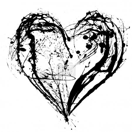 Photo for Abstract Valentine black heart on white background - Royalty Free Image