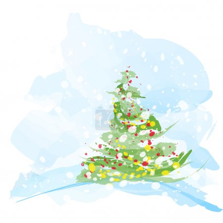 Artistic watercolor Christmas tree