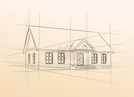 Illustration for Classic picture house on pastel background - Royalty Free Image