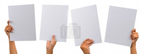 Photo for Various blank cardboard with hands isolated on white - Royalty Free Image