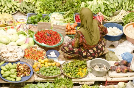 Photo for Selling at siti khatijah market ,kota bahru kelantan malaysia - Royalty Free Image