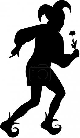 Illustration for Silhouette of clown with flower, isolated - Royalty Free Image