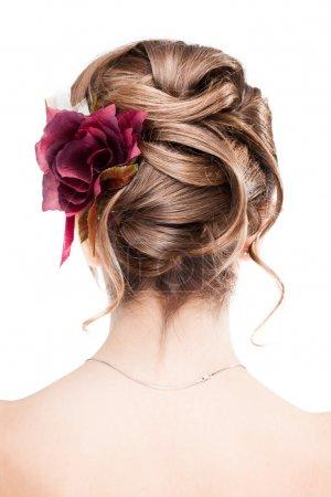 Foto de Vista de belleza boda peinado trasera aisladas en blanco - Imagen libre de derechos
