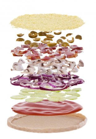 Photo for Pizza, exploded into layers. Layers are crust, sauce, cheese, mushrooms, bacon, olives, onions - Royalty Free Image