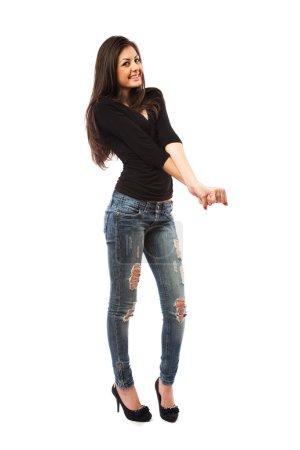 Attractive latin lady, full body shot