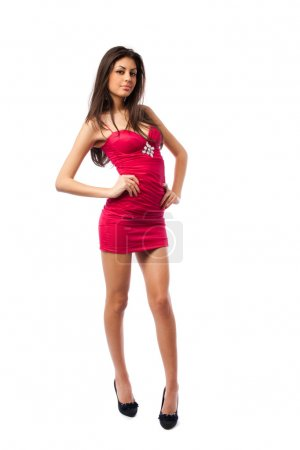 Gorgeous sexy lady in red dress, isolated on white