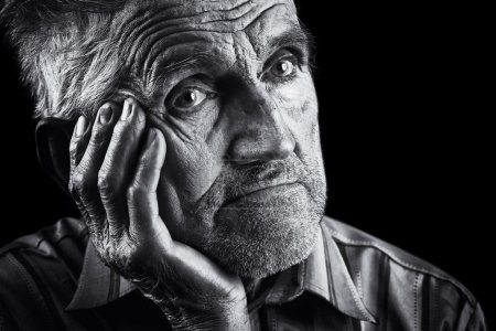 Photo for Monochrome stylized portrait of an expressive old man - Royalty Free Image