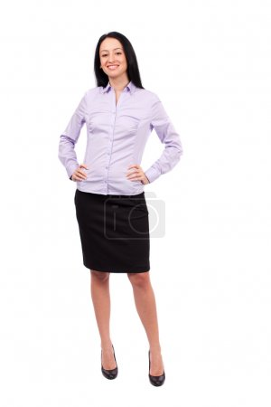 Hispanic businesswoman on white