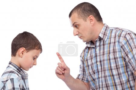 Father keeping a lesson to his son