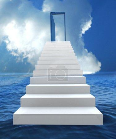 Photo pour Escalier avec la porte ouverte à un ciel bleu nuageux semi. illustration 3D - image libre de droit