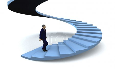 Photo for Businessman walking upstairs the success staircase. 3d illustration - Royalty Free Image