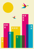 Spring time in the city Full color humming birds flying over the city Vector file available