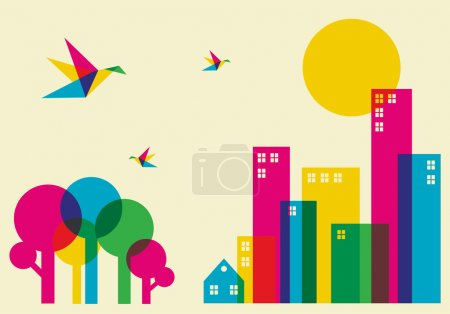 Photo for Spring time in the city. Full color humming birds flying over the forest and city. Vector file available. - Royalty Free Image