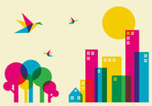 Spring time in the city Full color humming birds flying over the forest and city Vector file available
