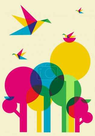 Illustration for Spring time: multicolored humming birds playing in the forest. Vector file available. - Royalty Free Image