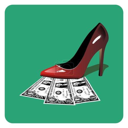 Dollars under a red stiletto