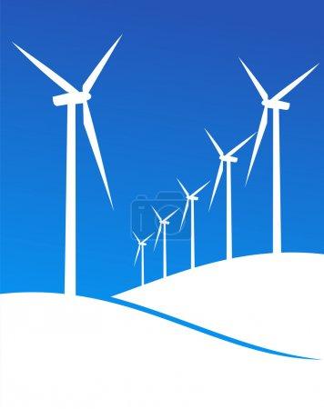 Illustration pour Groupe de moulins à vent silhouettes blanches sur fond bleu. Vecteur disponible . - image libre de droit
