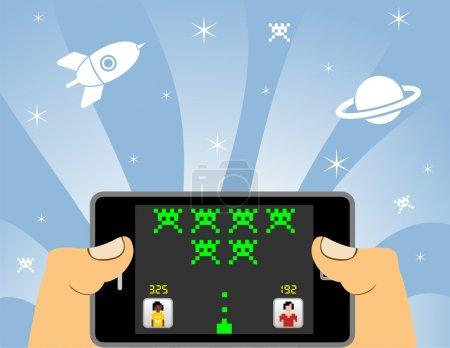 Illustration pour Mains en jouant à des jeux de réseau dans un appareil de téléphone intelligent. POV du joueur - image libre de droit