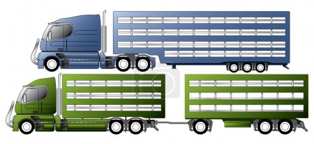 Illustration for Trucks with animal transportation trailers - Royalty Free Image