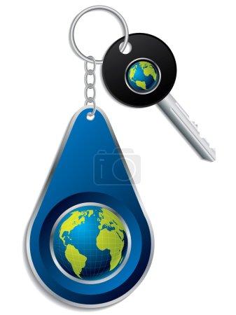 Key and globe design keyholder