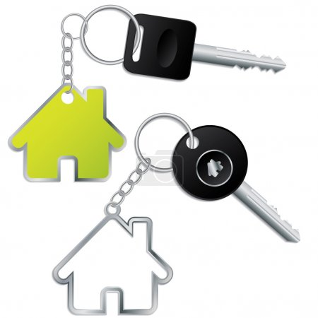 Keys with house shaped keyholders
