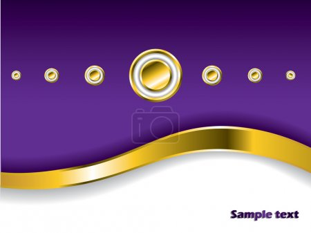 Illustration for Stylish background with gold wave and buttons - Royalty Free Image