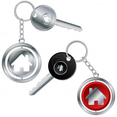 Vector illustration of keys with house keyholders
